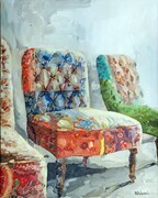 HAVE A SEAT oil on canvas 28x22 in.